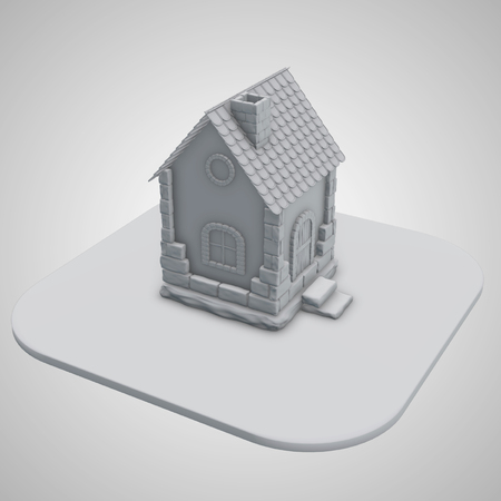 3d render. Old stone house of gray color on a white background Stock Photo