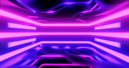 3D Rendering. Geometric figure in neon light against a dark tunnel. Laser glow. Imagens