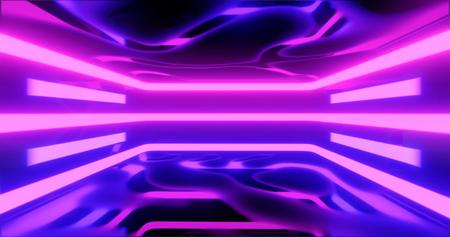 3D-weergave. Geometrische figuur in neonlicht tegen een donkere tunnel. Laser gloed. Stockfoto