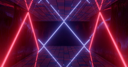 3d rendering. Underground tunnel or corridor lit with bright neon lamps. Futuristic background. Dark dungeon.