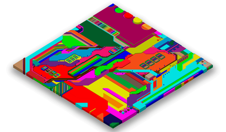 Futuristic surface of low-poly elements and parts. Vector illustration in the style of isometrics. background