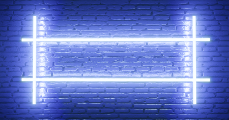 3d rendering. Brick wall illuminated by a neon blue light. Abstract background. Light effect on the protruding surface.