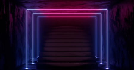 3d rendering, abstract neon background, pink blue glowing light, staircase in dark room