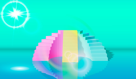 3d , green blue pink stairs, steps, abstract background in arched pastel colors, fashion podium, minimalist scene, primitive architectural objects, designer element