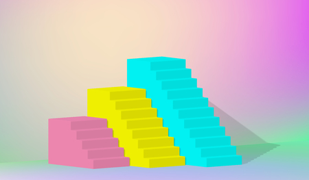 3d rendering, yellow blue pink stairs, steps, abstract background in arched pastel colors, fashion podium, minimalist scene, primitive architectural objects, designer element