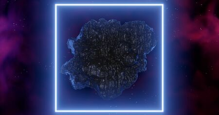 3d rendering. An asteroid in space among gas clouds lit by a light blue neon rectangle or square.