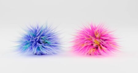 3d rendering. Two fluffy balls of blue and pink color lie on a plane, isolated by a white background. graphic illustration. Фото со стока