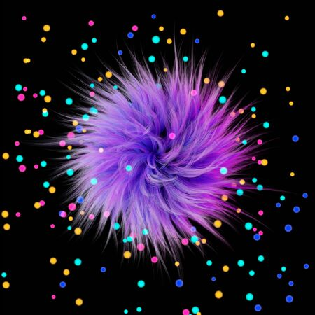 3d rendering. Fluffy purple ball on the background of multicolored highlights or glowing balls. Graphic illustration.