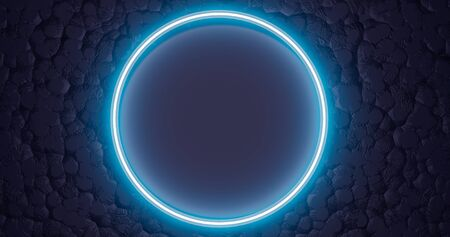 3d rendering. Neon glowing circle or hoop against the background of a relief texture. Graphic illustration for your business.