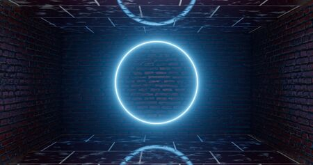 3d rendering. A neon glowing circle or a hoop against the background of a brick core. Graphic illustration. underground facility