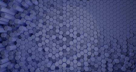 3d rendering. Abstract background of hexagonal rods of different heights, light blue color. Graphic illustration for your business. Stock Photo
