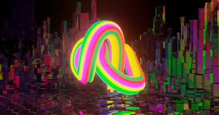 3d rendering. Twisted torus with various-colored diagonal stripes against the background of hex posts. Graphic illustration for your business.