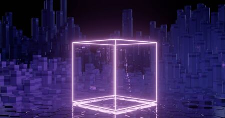 3d rendering. geometric figure of cubic shape on the background of hexagonal pillars. Graphic illustration for your business. Stock Photo