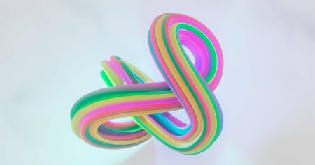 3d rendering. Twisted torus with multi-colored diagonal stripes on a white isolated background. Graphic illustration for your business.