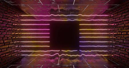 3d rendering. Geometric figure in neon light against a dark tunnel. Laser line glow. Neon backgrounds