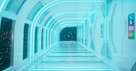 3d rendering. The fantastic corridor of the space station or the futuristic interior of the space ship in light blue neon lighting. Graphic illustration.