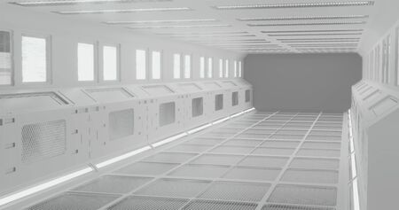 3d rendering. The fantastic corridor of the space station or the futuristic interior of the spacecraft in white neon lighting. Graphic illustration. Stock Photo