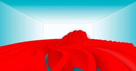 Red wave on a blue background. Abstract minimal exterior design. Creative architectural concept. 3D illustration Ilustração