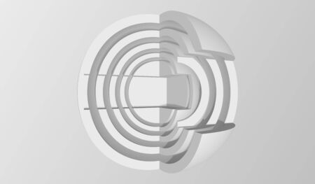 Abstract sphere background. Minimalistic Hi-Fi graphic design. 3d vector illustration