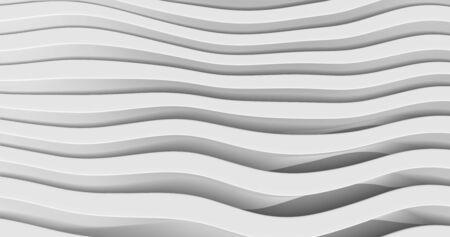 White Wave Background. Abstract Minimal Exterior Design. Creative Architectural Concept. 3d Illustration Ilustração
