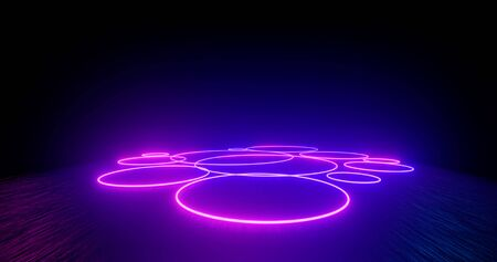 3d Render. Geometric figure in neon light against a dark tunnel. Laser glow. Neon backgrounds