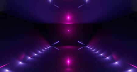 3d rendering. Futuristic glowing corridor or tunnel. Neon scene. Light flare and hatching.