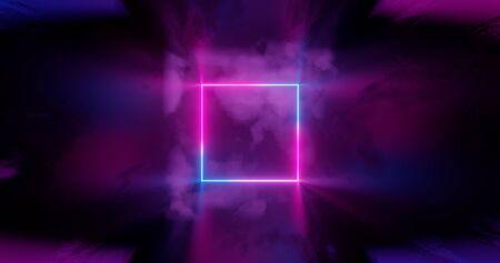 3d render. Geometric figure in neon light against a dark tunnel. Laser line glow. Neon backgrounds