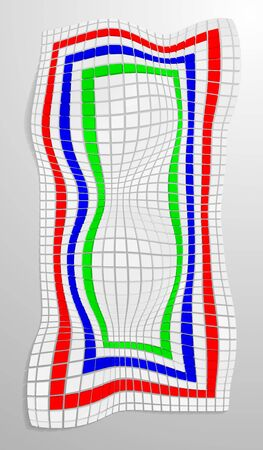 eps10. Curved surface made of deformed cubes or tiles. Vector illustration in colored colors. Illustration