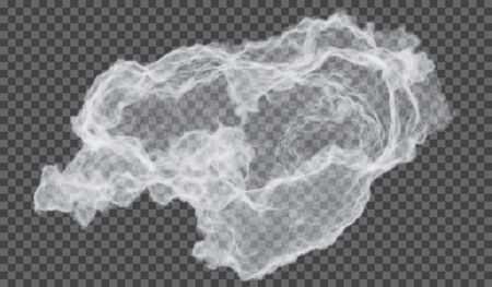 eps10. Transparent special effect stands out with fog or smoke. White cloud vector, fog or smog Illustration