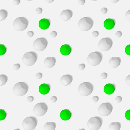 Seamless pattern with three-dimensional spherical objects. Abstract mosaic of white spheres