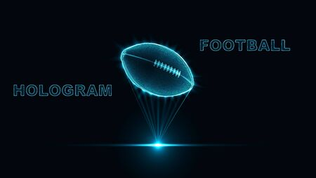 eps10. Hologram ball for American football. Neon glow of a silhouette of dots and triangles. Abstract vector background.