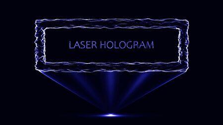 eps10. Hologram neon frame on a black background. Particle system.