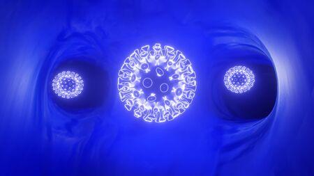 3d rendering illustration. Coronavirus 2019-nCov novel coronavirus concept responsible for asian flu outbreak and coronaviruses influenza as dangerous flu strain cases as a pandemic. Microscope virus close up. Banco de Imagens