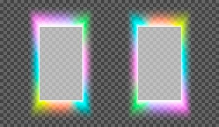 eps10. Neon square frame on a transparent background for posters, cafe, shop, banner, promotion, restaurant. Bright signboard. Vector illustration Illustration