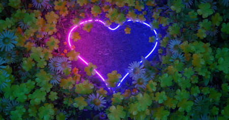 3D render. Neon heart of lovers in wildflowers. Nature in bright neon colors. Stock fotó