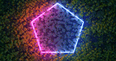 3D render. Neon rhombus or polygon in wildflowers. Nature in bright neon colors.