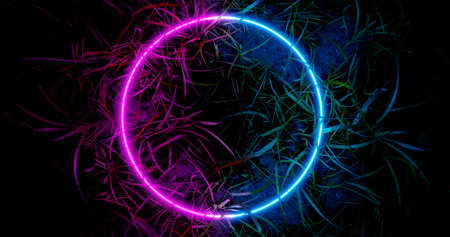3d render. Neon hoop or circle in the thickets of grass. Nature in vibrant neon colors. Stock fotó