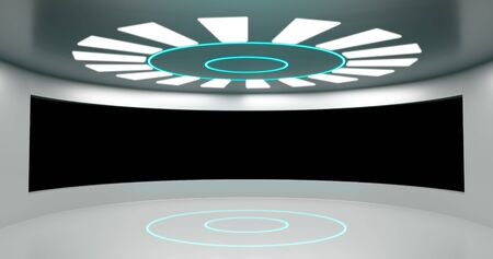 3d rendering. Round room With a large window, illuminated by neon panels. The interior of the spacecraft hall. Stock fotó