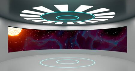 3d rendering. Round room With a large window overlooking a bright star in space, illuminated by neon panels. The interior of the spacecraft hall. Stock fotó