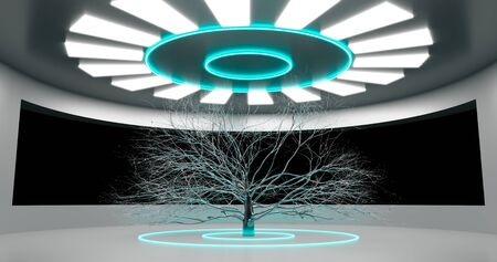 3d rendering. Round room With a large window and a decorative metal tree in the center, illuminated by neon panels. The interior of the spacecraft hall. Stock fotó