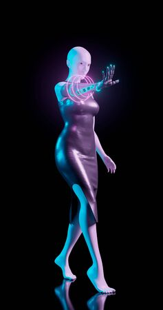 3d rendering. A woman mannequin in blue and pink neon lighting with a biomechanical arm reaches forward. Isolated background. Bionic prosthesis with neonous decorative inserts