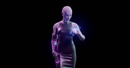 3d rendering. Woman mannequin in blue and pink neon lighting with biomechanical hand holds a luminous ball. Isolated background. Bionic prosthesis with neonous decorative inserts