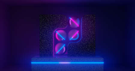 3d rendering. Abstract geometric shapes or objects on a marble rectangular podium. Neon inserts. futuristic illustration.