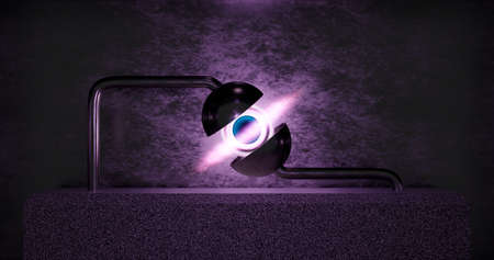 3d rendering. A minimalistic black hole located on a stone podium in a metal hemisphere. Abstract background Stock fotó