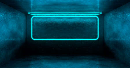 3d rendering. A neon rectangle or square of light blue color in a dark room. Glossy hatching on the walls.