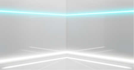 3d rendering. Abstract composition of geometric shapes in a bright room with neon lighting. A podium for your mockup.
