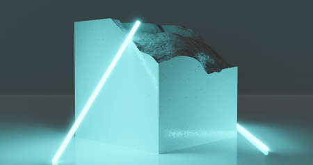 3d rendering. White pieces of stone wall with broken textured edges in neon light blue lighting, rubble stone slabs for product display background.