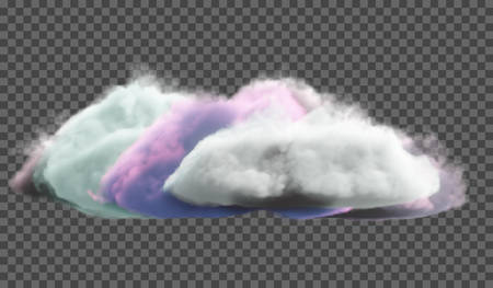 Multicolored dense cloud on a transparent background. Fantasy background.