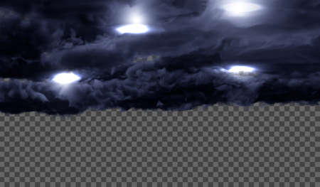 Dark, dense thunderclouds with flashes from lightning on a transparent background. Vector illustration. Illusztráció