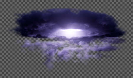 Dark, dense thunderclouds with flashes from lightning on a transparent background. Vector illustration.